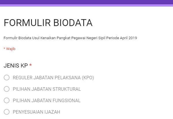 Kenaikan Pangkat Periode 01 April 2019