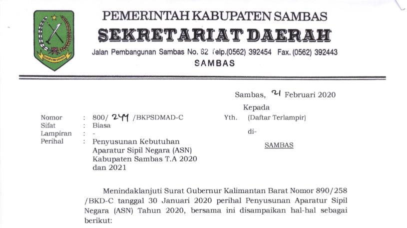Penyusunan Kebutuhan Aparatur Sipil Negara Asn Kabupaten Sambas T A 2020 Dan 2021