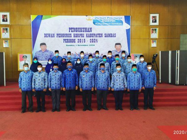 Dewan Pengurus Korpri Kabupaten Sambas Periode 2019-2024 Resmi Dikukuhkan
